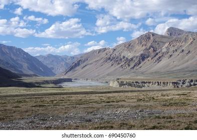 Landscape between Tsokar lake and Sarchu in Ladakh, India