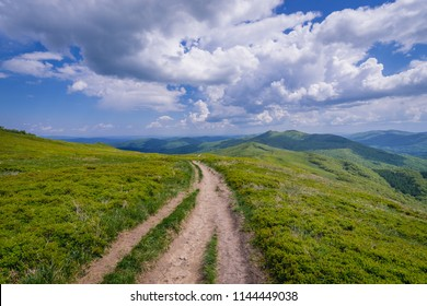 Landscape of Bieszczady National Park in Poland, view from mountain pasture Wetlina