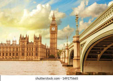 Landscape of Big Ben and Palace of Westminster with Bridge and Thames - London.