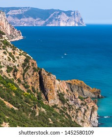 Landscape of the Black Sea coast in a Crimea. Aya Cape
