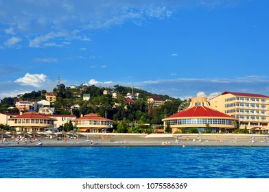 Landscape of the Black Sea resort town of Loo. Southern Russia. View from the sea