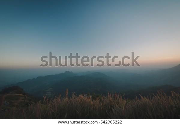 Landscape Blackground mountain morning