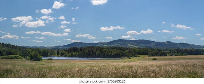 landscape with blue sky and clouds - panorama of rural countryside with pond and field