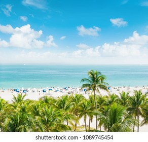 Landscape with blue sky, turquoise sea water and palm trees. Public beach in Miami Beach, Ocean Drive