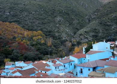 Landscape of the blue village of Juzcar known as the Smurfs village, in Malaga (Spain, Andalusia)