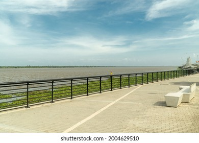 Landscape from the boardwalk and Magdalena river. Barranquilla, Colombia.