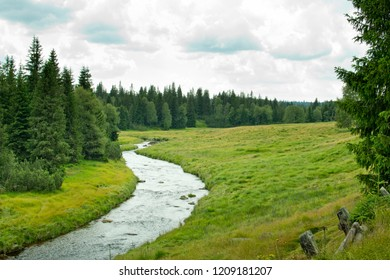 A landscape of Bohemian Forest. Vltava River.Czech Republic.