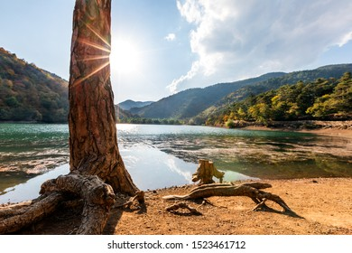 Landscape of the Borabay Lake or Kocabey Lake in Tasova, Amasya, Turkey. The lake is east and west oriented valley on the Black Sea Mountains. It was formed when the river was blocked by a landslide.