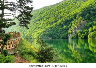 Landscape of Borabay Lake in Tasova, Amasya, Turkey
