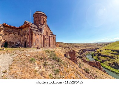 Landscape of the border of Turkey and Armenia and Saint Gregory of Tigran Honents, western side in Ani ruins, Kars, Turkey. The river name is Arpacay and it is a border between Turkey and Armenia.