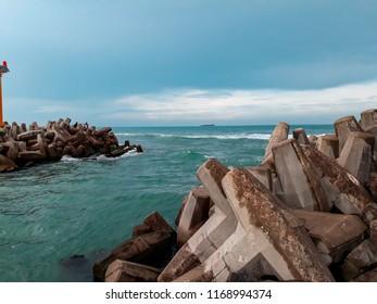 Landscape of breakwaters on the beach of Tuxpan, Veracruz, México