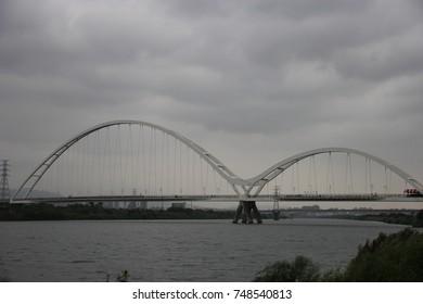 Landscape bridge cross the river