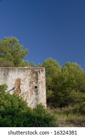Landscape of brush and trees, with exterior of an old building visible.