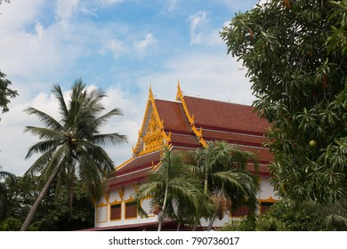 Landscape of Buddha Temple In the garden with nice sky background.