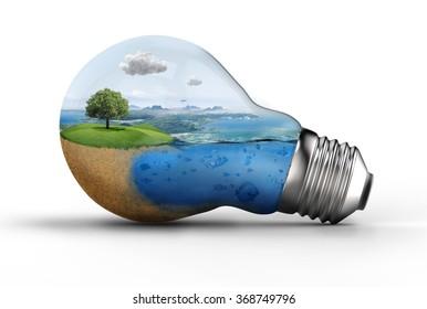 landscape in a bulb; eco, green concept