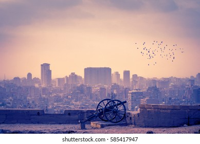 Landscape of Cairo city at sunrise with a flock of birds and dawn mist over the town. Panoramic view of modern Cairo with silhouettes of skyscrapers and old cannon in Citadel of Saladin.