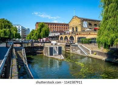 landscape of camden lock in london, uk