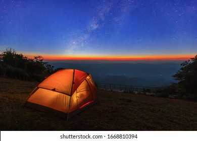 """landscape camping on """"Doi pui co"""" with milkyway Sop Moei, Mae Hong Son, Thailand."""