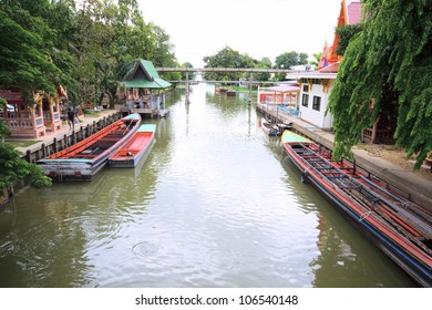 Landscape of canal and wat in Bangkok; Thailandl