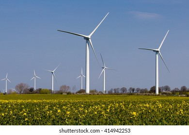 landscape with canola and wind wheels