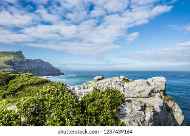 Landscape of the Cape Point - rocks and ocean at Cape of Good Hope, South Africa