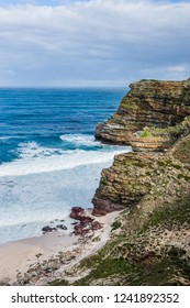 Landscape of the Cape Point - sandy Dias beach and Cape of Good Hope, South Africa