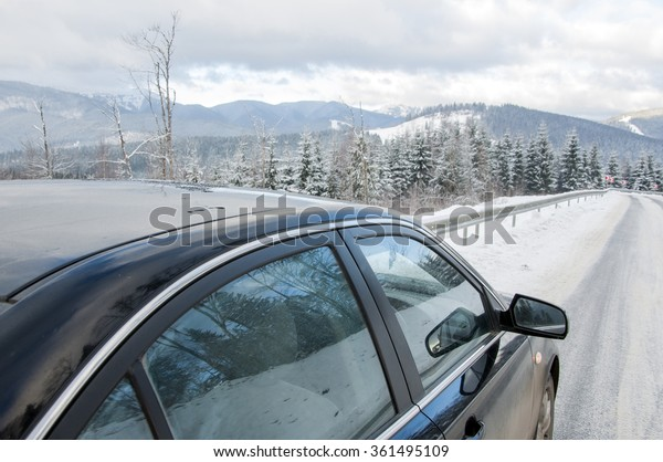 Landscape ,car on the winter mountain road