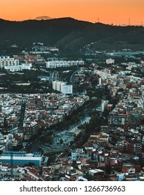Landscape of Carmel - Horta district in Barcelona (Spain) at sunset from Bunkers