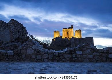 Landscape of Castle Rocca Calascio in Abruzzo in Italy