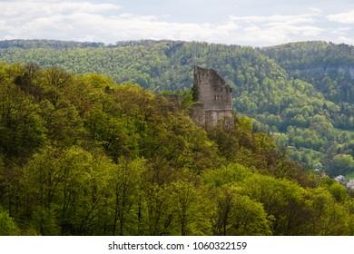 Landscape with Castle ruins in Pfeffingen, Canton Baselland, Switzerland
