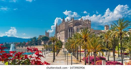 Landscape with Cathedral La Seu in Palma de Mallorca islands, Spain