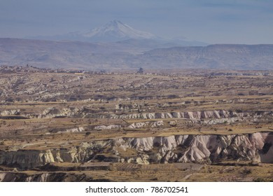 Landscape in the center of Turkey in the region of Cappadocia with a view of Mount Erciyes