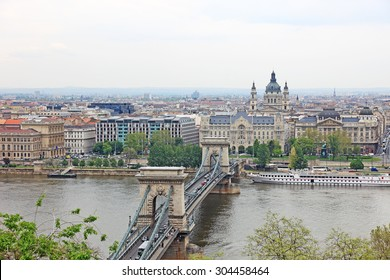 Landscape of the central Budapest with famous bridge, capital city of Hungary, Europe