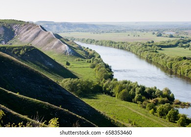 Landscape of the chalk mountins and  hills in the Don River valley, Storozhevoe, Divnogorie, Voronezh dist., Russia