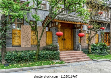 The landscape of Chinese classical buildings and doors and windo