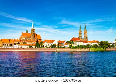 Landscape of the church above the river, the old town of Wroclaw, Poland, the ancient church, the architecture of the city