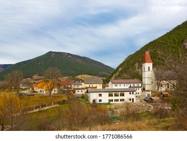 Landscape with church and mountains in Puchberg am Schneeberg, Austria