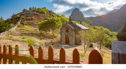 landscape with church on Saint Helena Island in the middle of the south atlantic ocean