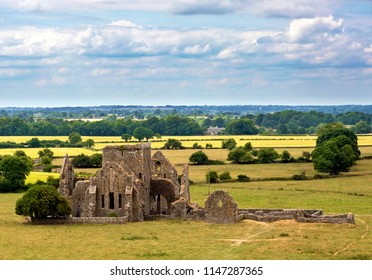 Landscape with church ruins from the historical site of Rock of Cashel, Ireland