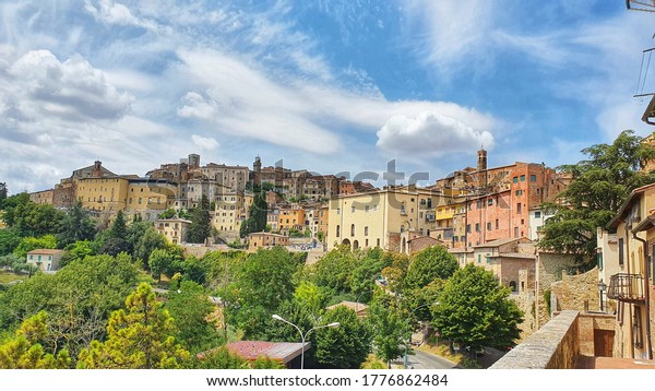 Landscape of the city center of Montepulciano, an ancient town of Tuscany, Italy