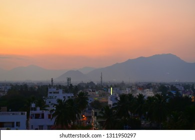 A landscape of city of Coimbatore in South India.Depicts both Eastern and Western Ghats guarding Indian penninsular.