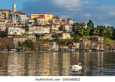 Landscape of the city of Kastoria from Lake Orestiada, Greece.