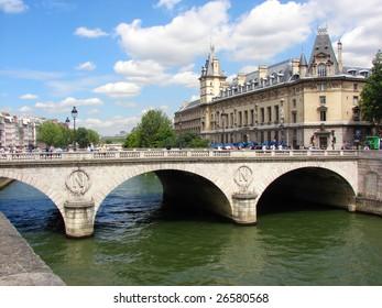 landscape city Paris with river Seine and bridge Saint Michel