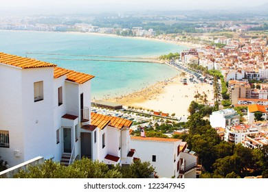 Landscape of the city and sea beach (Spain, Catalonia)