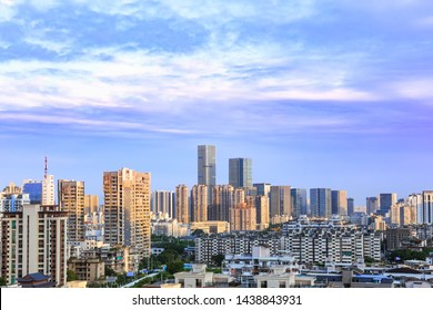 Landscape of the city skyline at dusk, in Aerial view with skyscraper, modern office building and blue sky background in Fuzhou,Fujian,China.