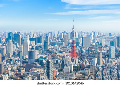 Landscape in the city of Tokyo on a sunny day  and Tokyo Tower