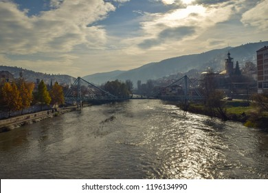 Landscape of the city of Veles and the Vardar river in Macedonia