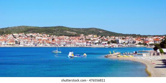Landscape of the city of Vodice on the Adriatic Sea in Croatia.