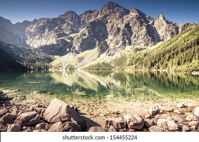 Landscape of clear mountain lake. Morskie Oko, Tatry.