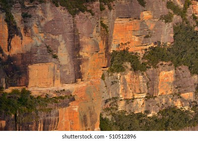 Landscape of cliffs in  the Jamison Valley at Blue Mountains of New South Wales, Australia.